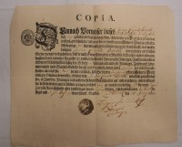COPIA. Geburts-Brief Johan Conrath Barth 1762