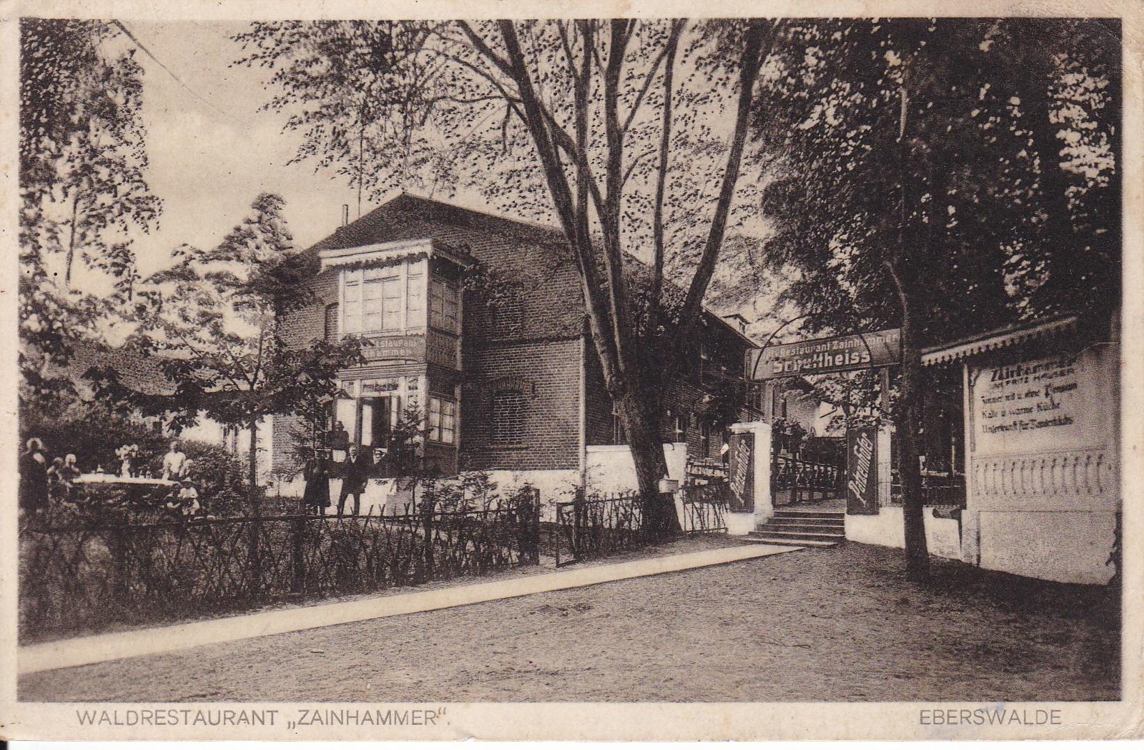 The 'Restaurant Zainhammer' in Eberswalde in 1930, postcard (Christina Wühle Collection, Eberswalde, RR-F)