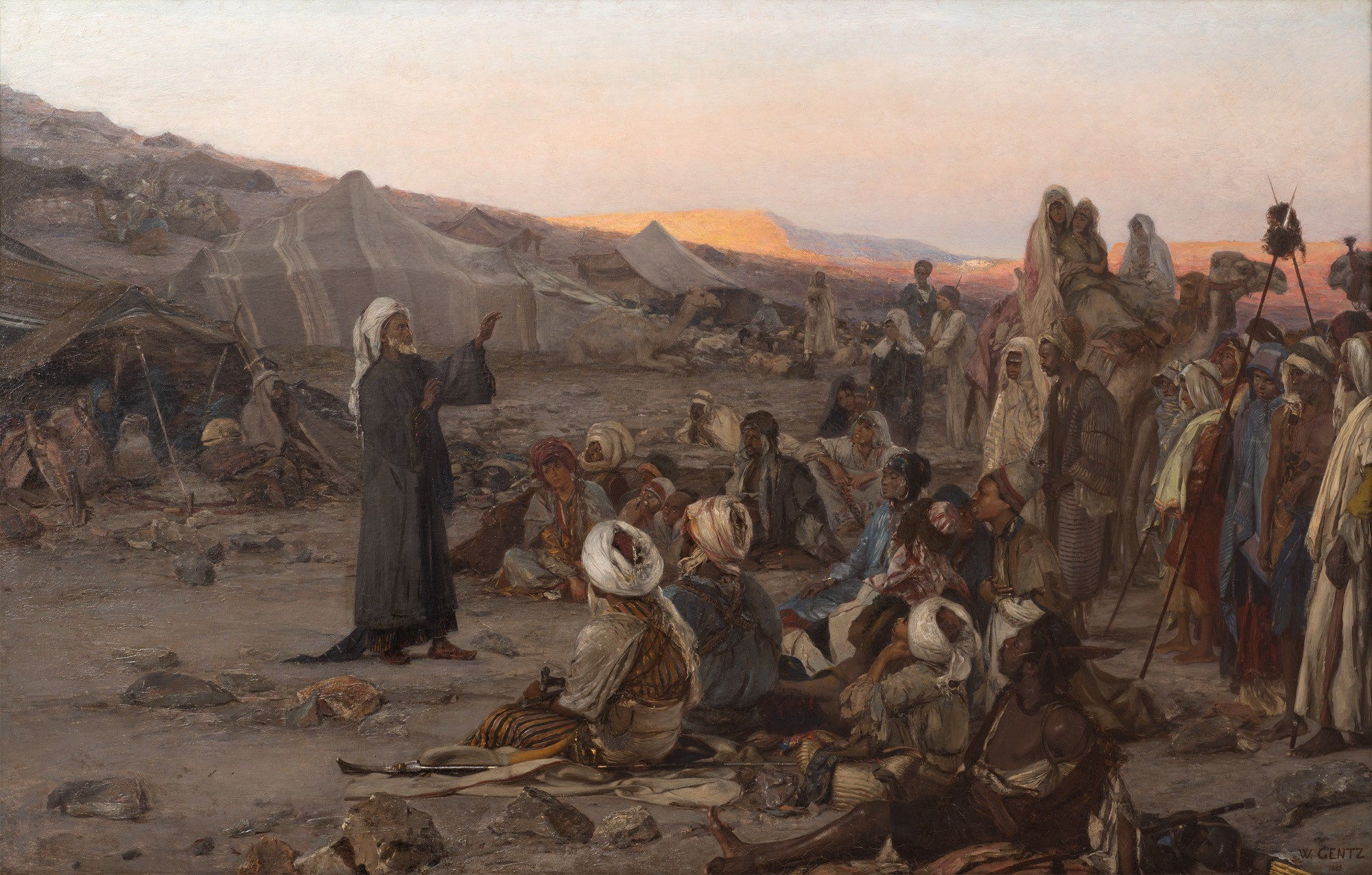 Wilhelm Gentz: Prayer in the desert, oil painting, 1888 (Private loan to the Museum Neuruppin, Photo: Ronka Oberhammer / Lorenz Kienzle)